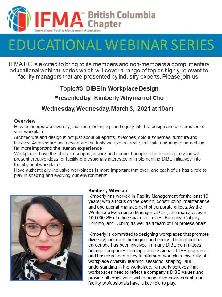 EDUCATIONAL WEBINAR SERIES - DIBE and Workplace Design Webinar - March 3, 2021